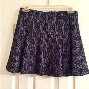 Navy Blue Skirt w/ Black Lace